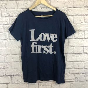 J Crew Love First Graphic Tee Shirt Large NWT Blue